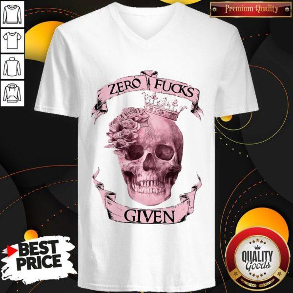 Nice Skull Queen Zero Fucks Given V-neck