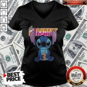 Nice Stitch Hug Dunkin Donuts V-neck