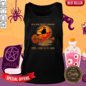 On A Dark Desert Highway Black Cat Witch Halloween Tank Top