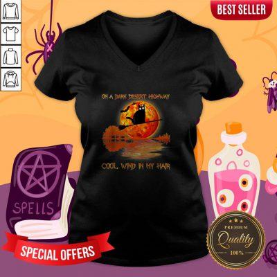 On A Dark Desert Highway Black Cat Witch Halloween V-neck