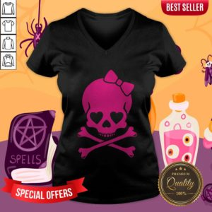 Pink Skull Cute Day Of The Dead V-neck