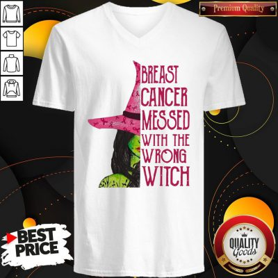 Pink Witch Breast Cancer Messed With The Wrong Witch V-neck