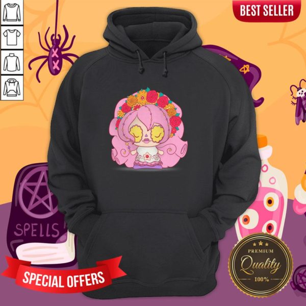 Pretty Pink Muerto Sugar Skull Day Of The Dead Hoodie