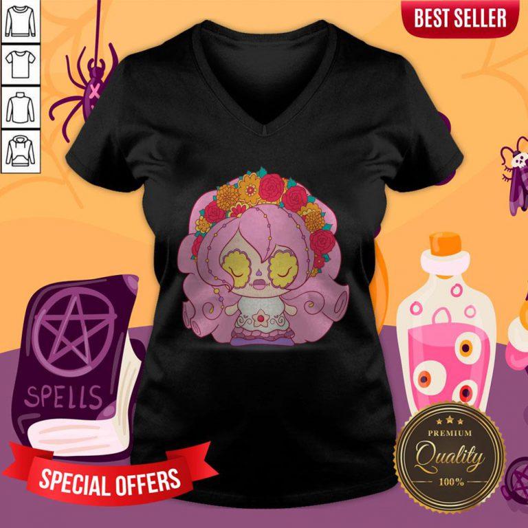 Pretty Pink Muerto Sugar Skull Day Of The Dead V-neck