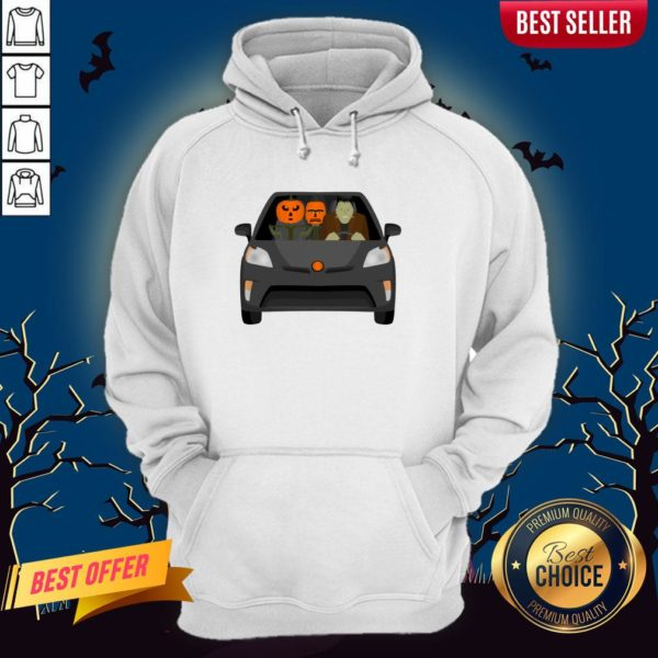 Pumpkinstein Family Drive In The Car Halloween Day Hoodie