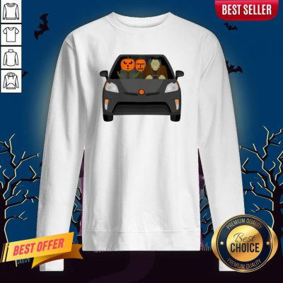 Pumpkinstein Family Drive In The Car Halloween Day Sweatshirt