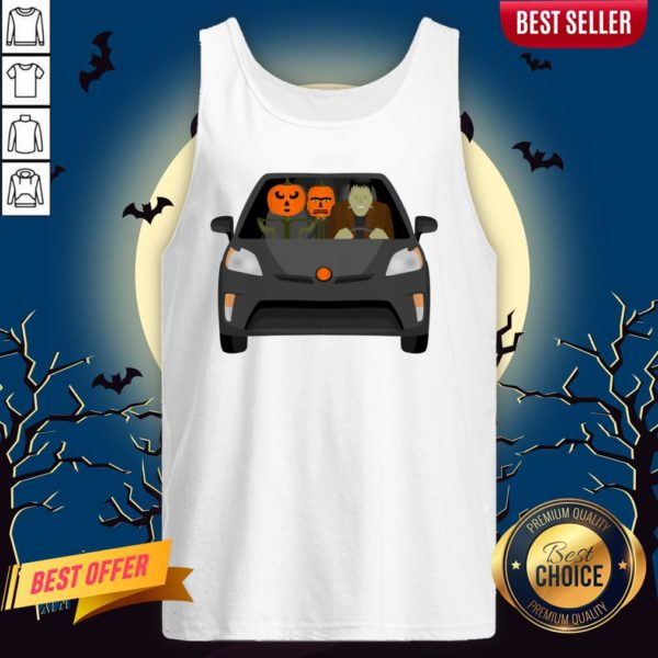 Pumpkinstein Family Drive In The Car Halloween Day Tank Top
