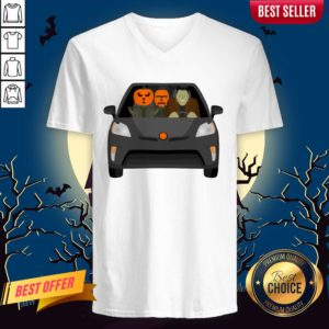 Pumpkinstein Family Drive In The Car Halloween Day V-neck