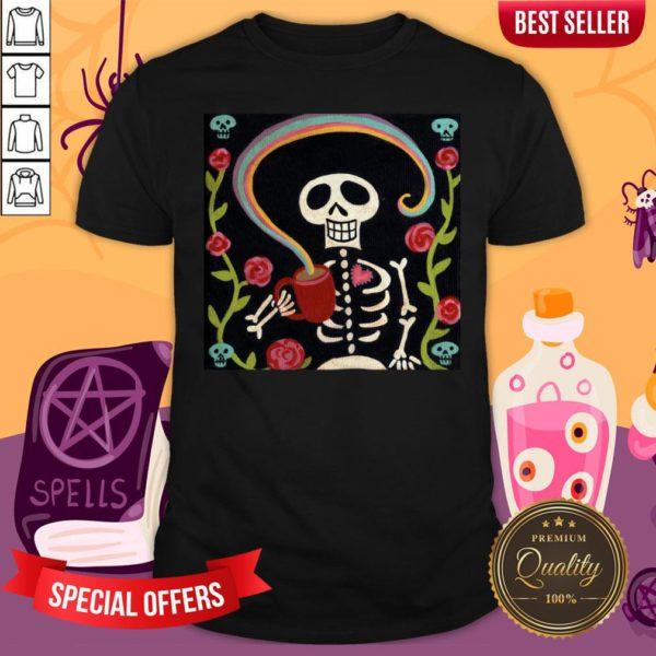 Rainbow Skelly Day Of Dead Dia De Los Muertos Shirt