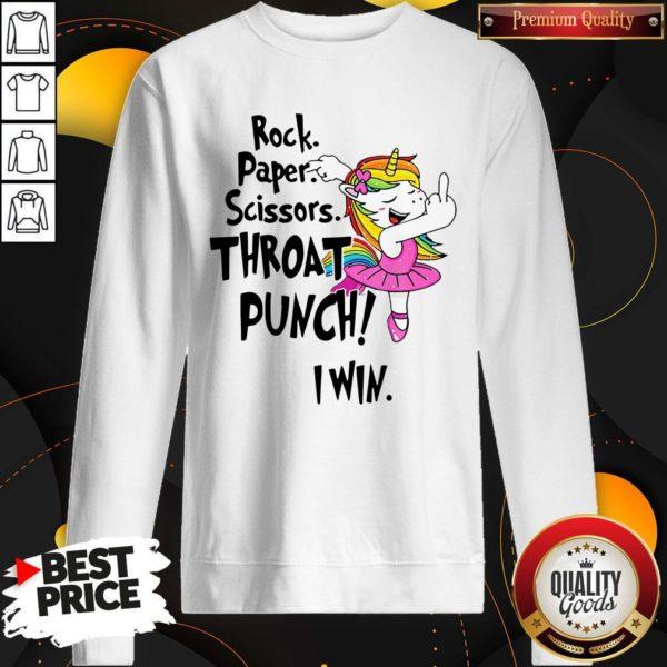 Rock Paper Scissors Throat Punch I Win Sweatshirt