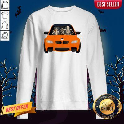 Skeleton Family Drive In The Car Halloween Day Sweatshirt