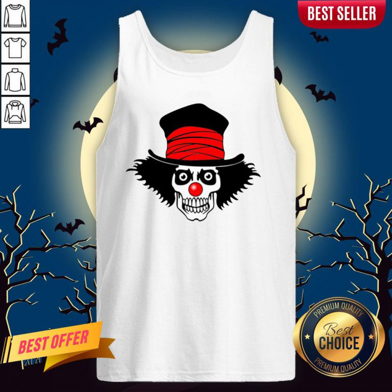 Skull With Top Hat Halloween And Day Of The Dead Tank Top