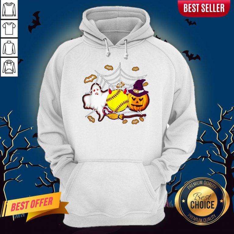 Softball Pumpkin Ghost Halloween Lover Hoodie
