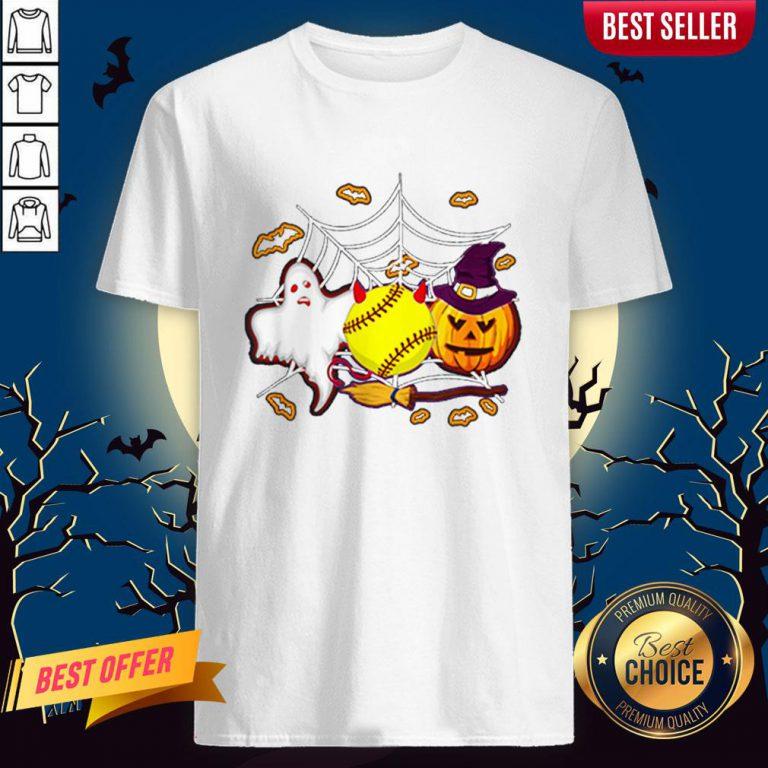 Softball Pumpkin Ghost Halloween Lover Shirt