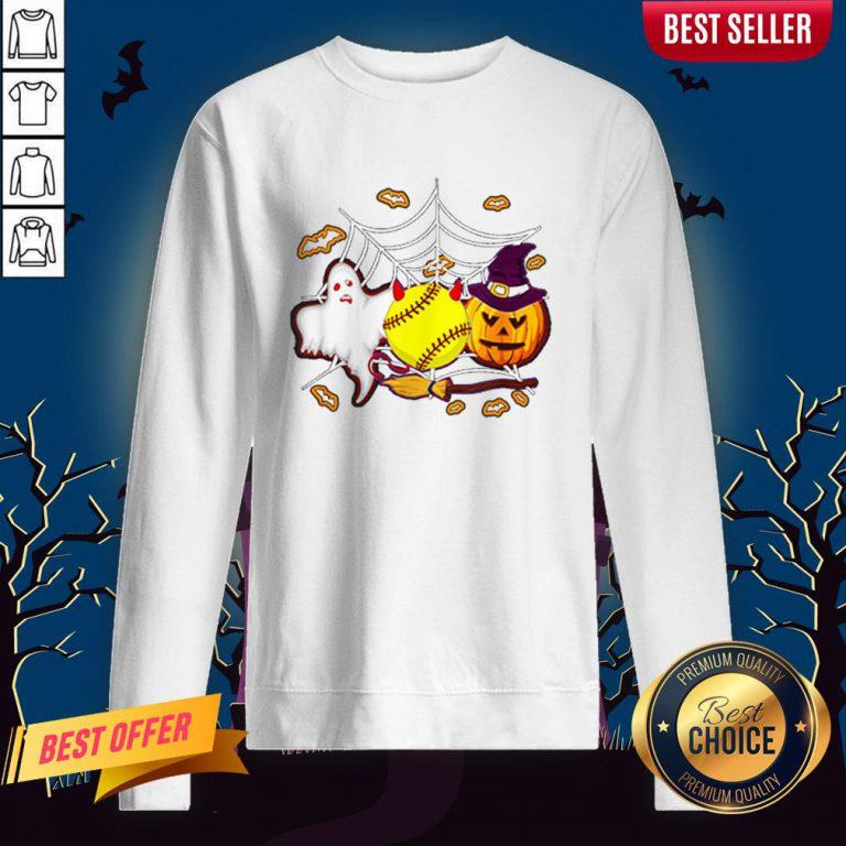Softball Pumpkin Ghost Halloween Lover Sweatshirt