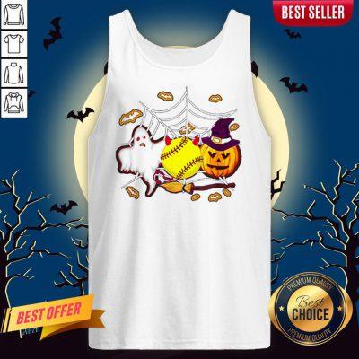 Softball Pumpkin Ghost Halloween Lover Tank Top