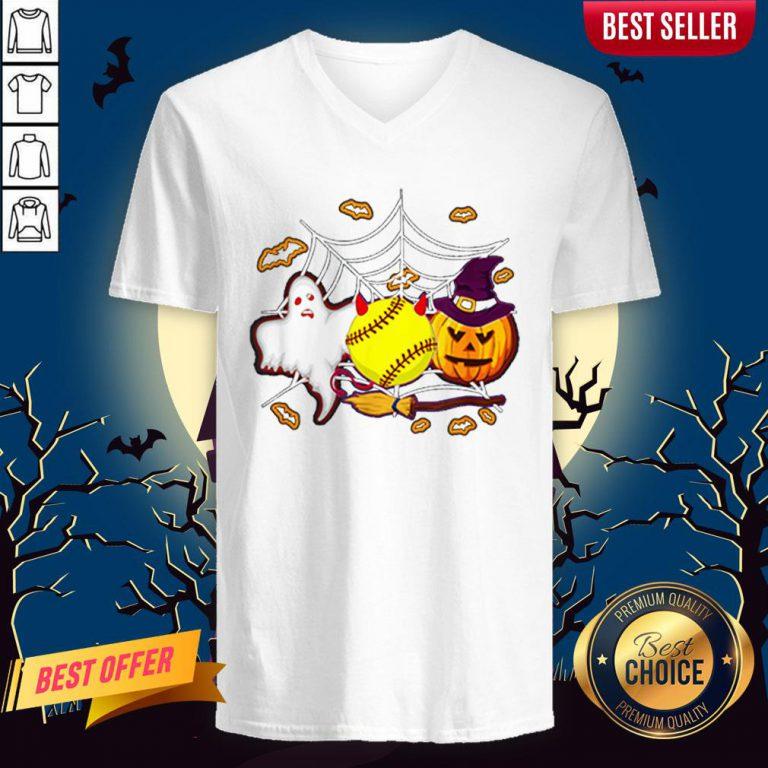 Softball Pumpkin Ghost Halloween Lover V-neck