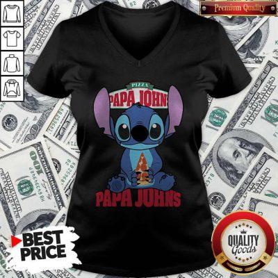 Stitch Hug Pizza Papa John's V-neck