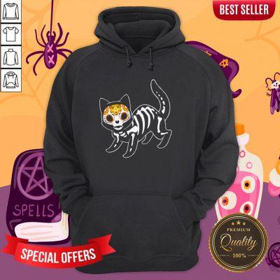 Sugar Black Cat Halloween Day Dead Dia De Muertos Hoodie