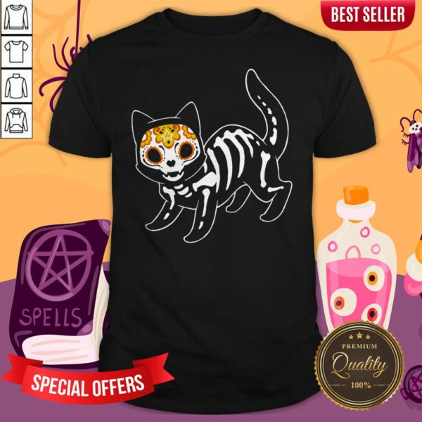 Sugar Black Cat Halloween Day Dead Dia De Muertos Shirt