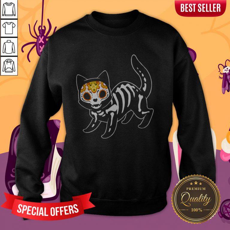 Sugar Black Cat Halloween Day Dead Dia De Muertos Sweatshirt