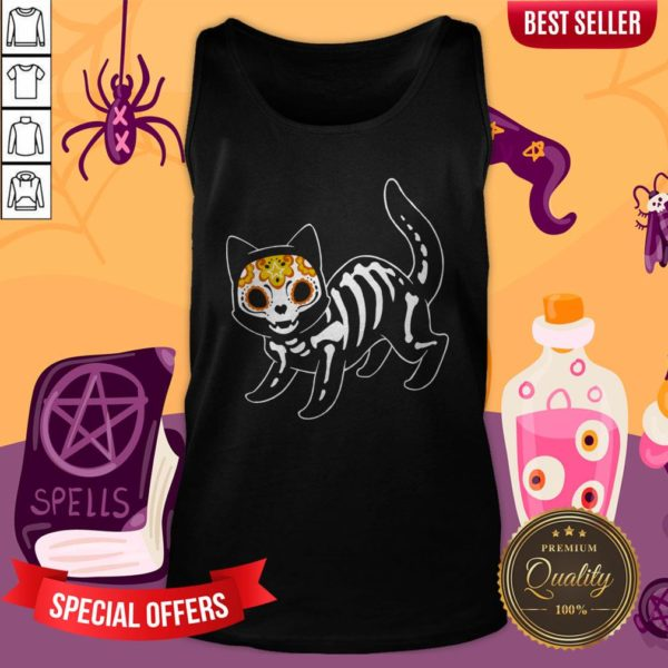 Sugar Black Cat Halloween Day Dead Dia De Muertos Tank Top