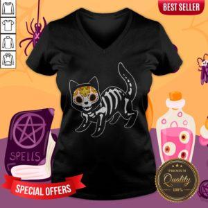 Sugar Black Cat Halloween Day Dead Dia De Muertos V-neck