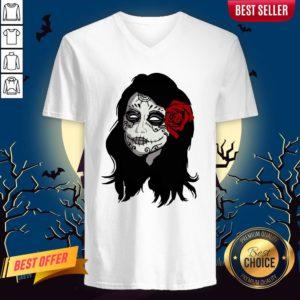 Sugar Skull Girl Day Of The Dead Dia De Muertos V-neck