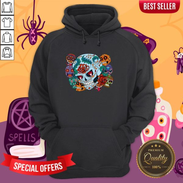 Sugar Skulls Collage Day Of The Dead Mexican Holiday Hoodie