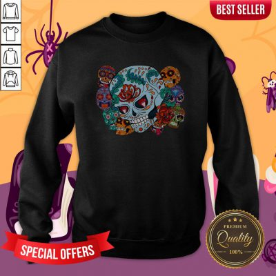 Sugar Skulls Collage Day Of The Dead Mexican Holiday Sweatshirt