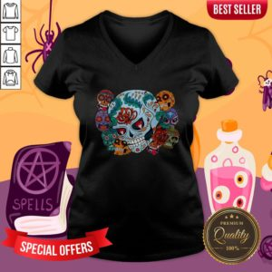 Sugar Skulls Collage Day Of The Dead Mexican Holiday V-neck