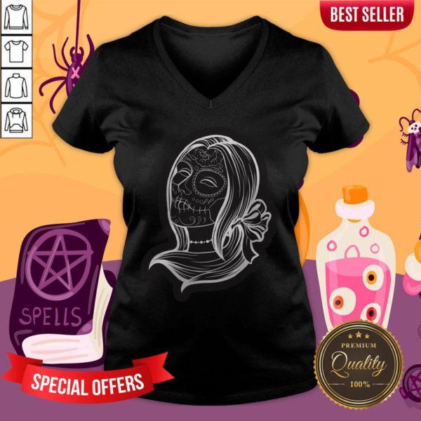 Sugar Skulls Girl Day Of The Dead Dia De Muertos V-neck