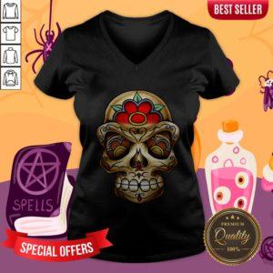 The Muertos Skull Halloween Mexican Holiday V-neck