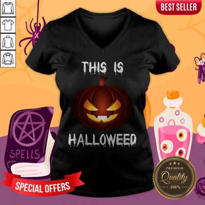 This Is Halloweed Retro Pumpkins Day Dead V-neck