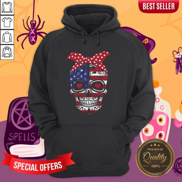 USA Flag America Day Of The Dead Skull Dia De Muertos Hoodie