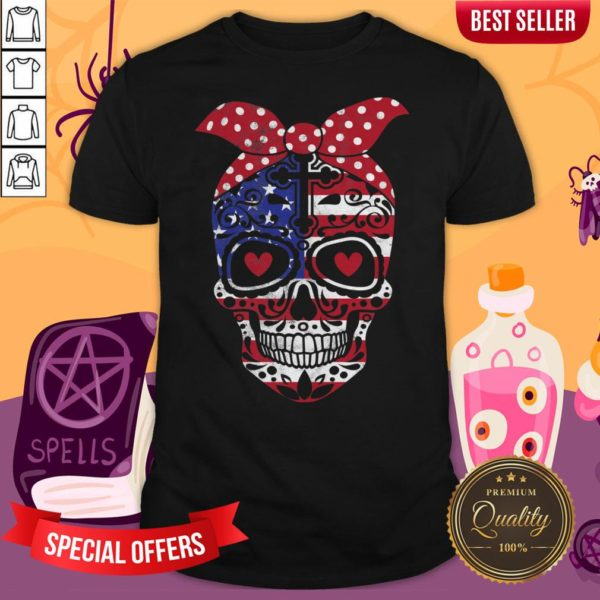 USA Flag America Day Of The Dead Skull Dia De Muertos Shirt