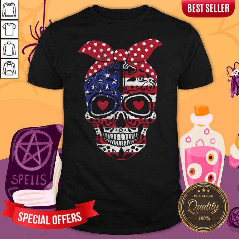 USA Flag America Day Of The Dead Skull Dia De Muertos Shirt
