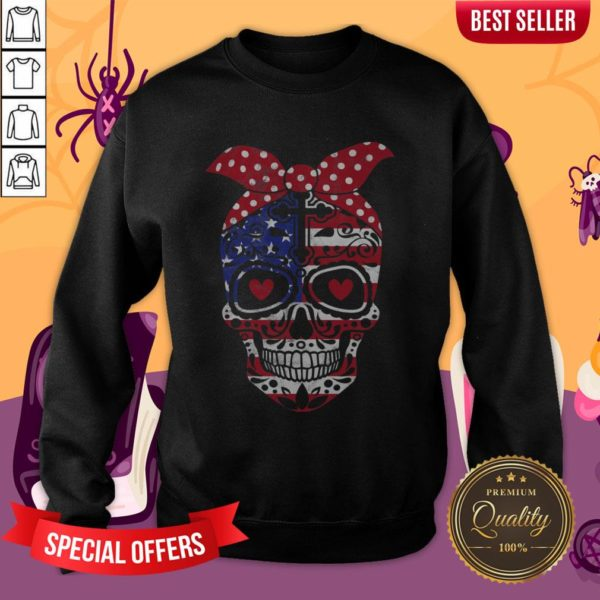 USA Flag America Day Of The Dead Skull Dia De Muertos Sweatshirt