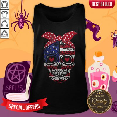 USA Flag America Day Of The Dead Skull Dia De Muertos Tank Top