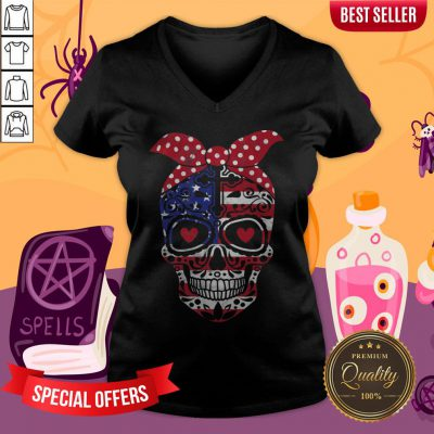 USA Flag America Day Of The Dead Skull Dia De Muertos V-neck