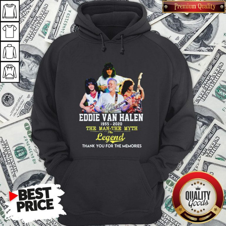Eddie Van Halen 1955 2020 The Man The Myth The Legend Thank You For The Memories Hoodie - Design By Waretees.com
