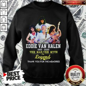 Eddie Van Halen 1955 2020 The Man The Myth The Legend Thank You For The Memories Sweatshirt - Design By Waretees.com