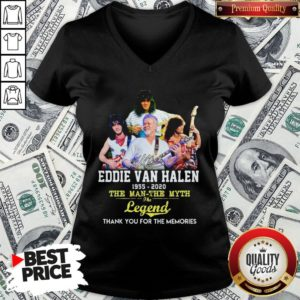 Eddie Van Halen 1955 2020 The Man The Myth The Legend Thank You For The Memories V-neck - Design By Waretees.com