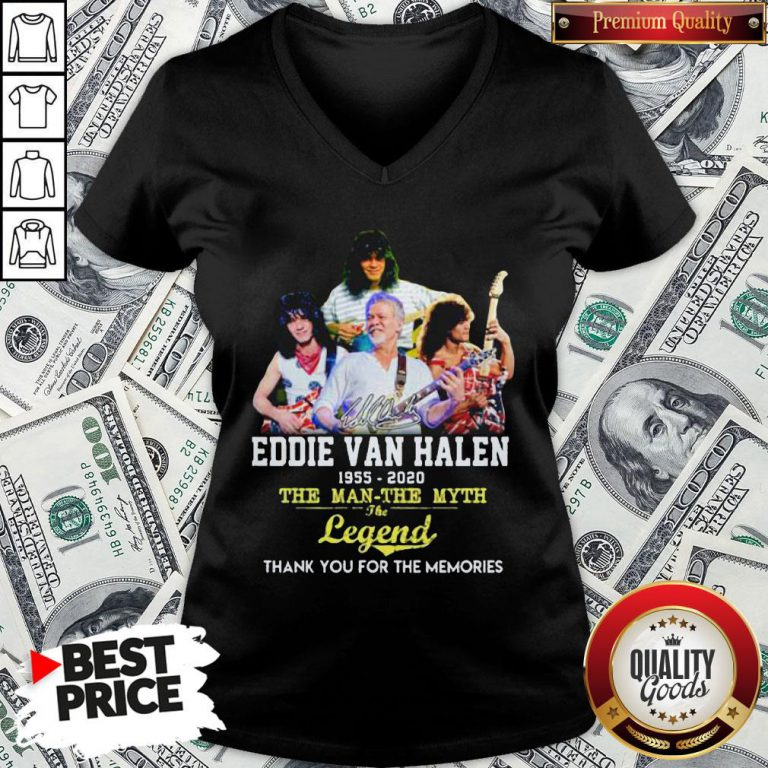 Eddie Van Halen 1955 2020 The Man The Myth The Legend Thank You For The Memories V-neck - Design By Waretees.com