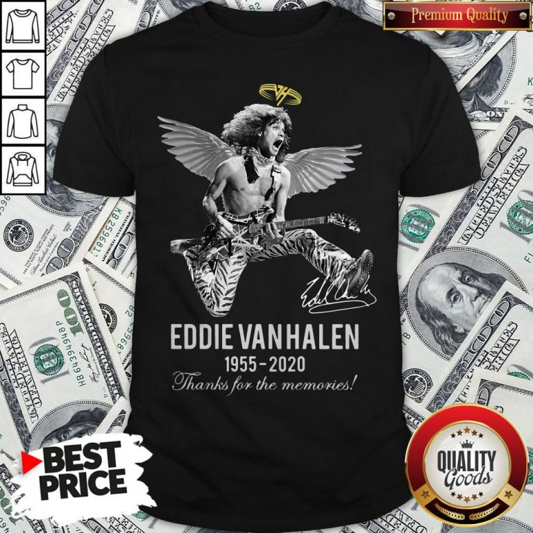 Eddie Van Halen Angle 1955 2020 Signature Thanks For The Memories Shirt - Design By Waretees.com