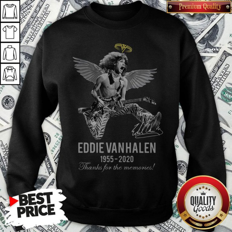 Eddie Van Halen Angle 1955 2020 Signature Thanks For The Memories Sweatshirt - Design By Waretees.com
