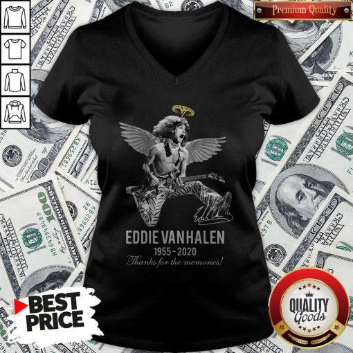 Eddie Van Halen Angle 1955 2020 Signature Thanks For The Memories V-neck - Design By Waretees.com