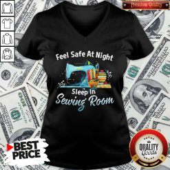 Feel Safe At Night Sleep In Sewing Room V-neck - Design By Waretees.com