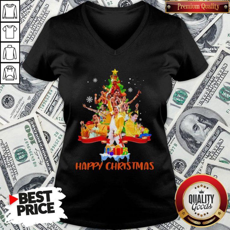 Freddie Mercury Happy Christmas Tree V-neck - Design By Waretees.com