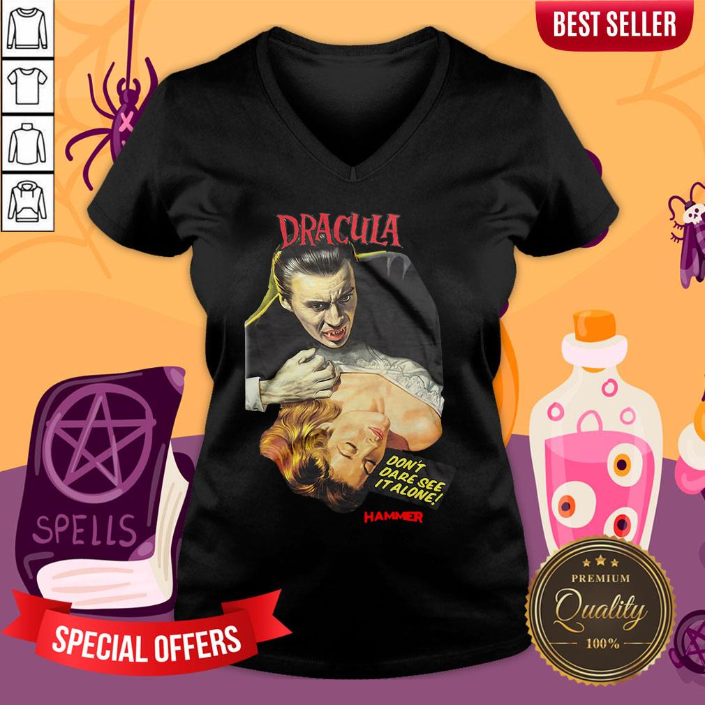 Funny Hammer Horror Dracula Don't Dare See It Alone V-neck - Design By Waretees.com
